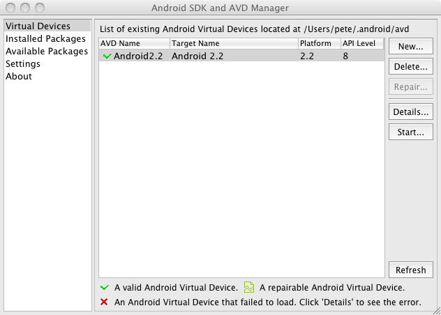 android virtual devices listing