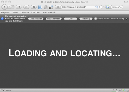 Screen shot of geode firefox plugin for location data