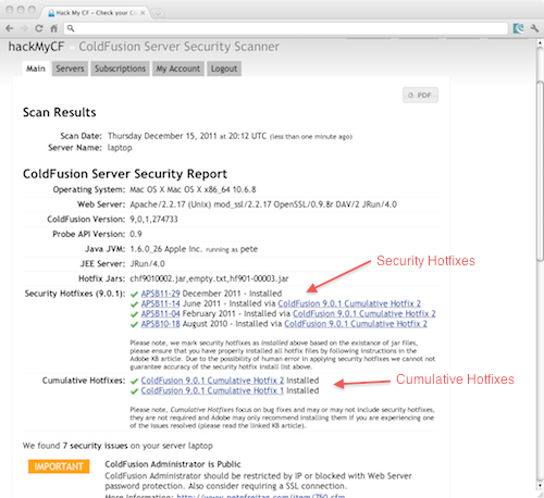 HackMyCF Detailed ColdFusion security report