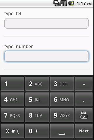 Android Screenshot of HTML5 input type number