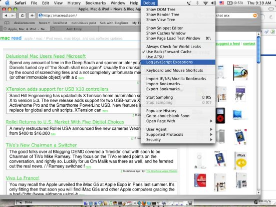 Screen Shot of Safari Debug Menu