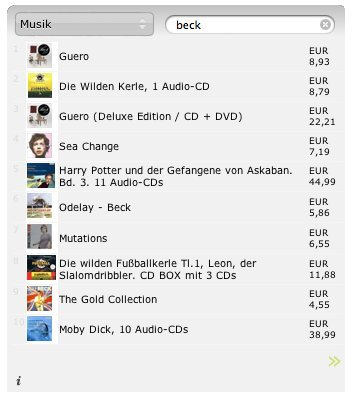shopper search results in german