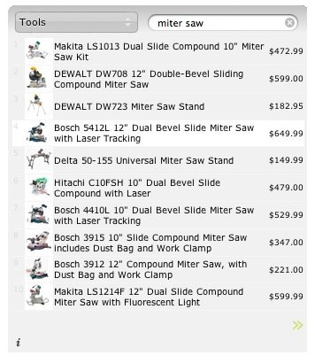 shopper search results